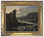 CAJETAN ROOS Italien 1690-1770 Landskap med boskap