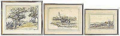 DARDEL Fritz von (1817-1901), akvareller 3 st,