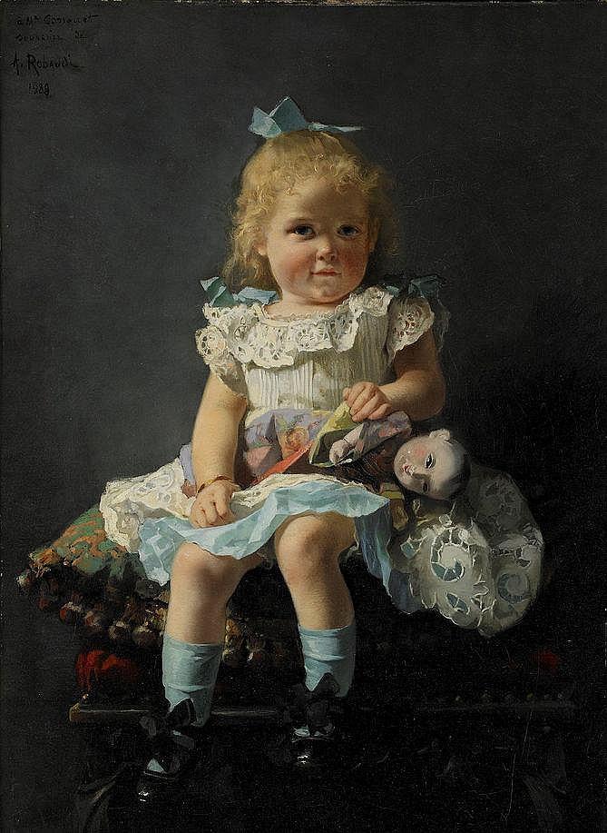 ALCIDE ROBAUDI, Frankrike 1850-1928, Flicka med