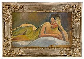 IVAN AGUÉLI, 1869-1917, Liggande modell, Olja på