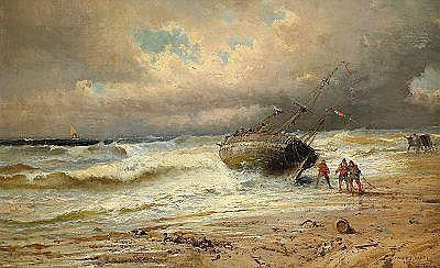 JULES ACHILLE NOEL Frankrike 1815-1881 Kustvy med