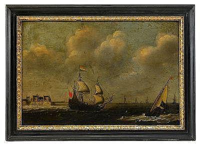 CLAES CLAESZ WOU Holland 1592-1665 Hamnvy med