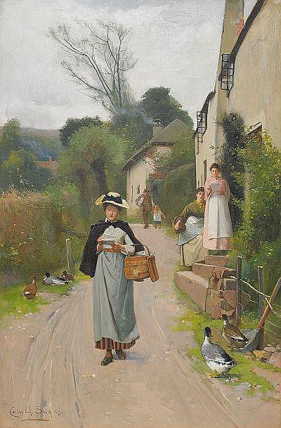 ALFRED CARLTON SMITH England 1853-1946 Flicka med