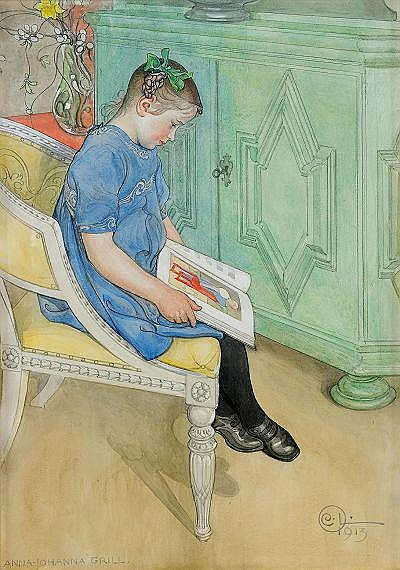CARL LARSSON 1853-1919 Anna-Johanna Signerad och