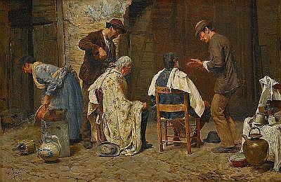 PIO JORIS Italien 1843-1921 Hos barberaren