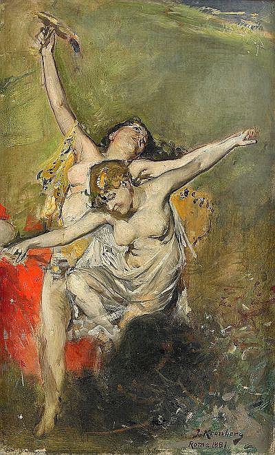 JULIUS KRONBERG 1850-1921 Dansande nymfer studie