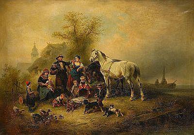 WILHELM MEYERHEIM Tyskland 1815-1882 Familjeidyll