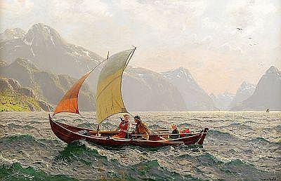 HANS DAHL Norge 1849-1937 Fjordlandskap med familj