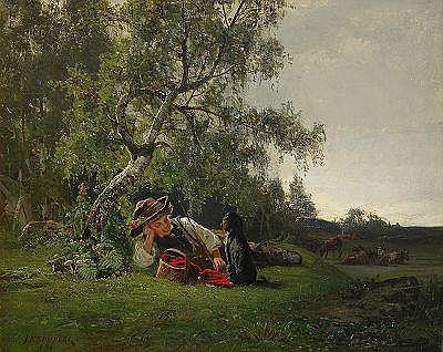 JULIUS KRONBERG 1850-1921 Pojke med hund i