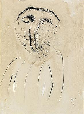 HENRI MICHAUX Belgium 1899-1984 Face Monogrammed.