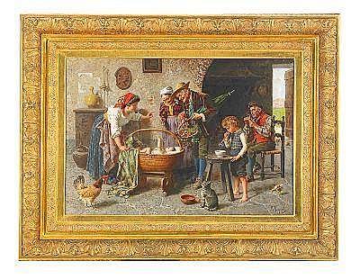 EUGENIO ZAMPIGHI Italien 1859-1944 Familjeidyll