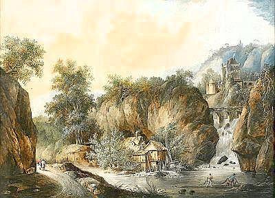 LOUIS BELANGER 1756-1816 Berglandskap med