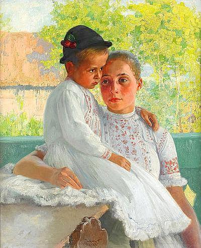 FERENC PACZKA Ungern 1856-1925 Mor och barn