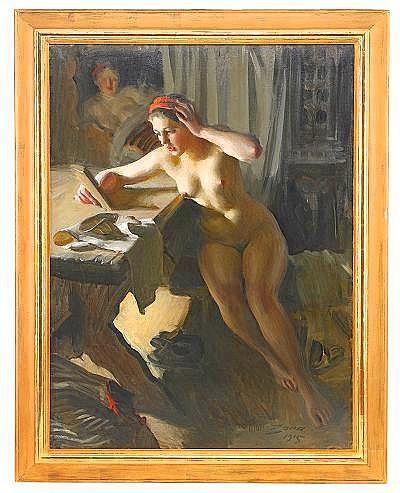 ANDERS ZORN 1860-1920 Gammal spegel Signerad och