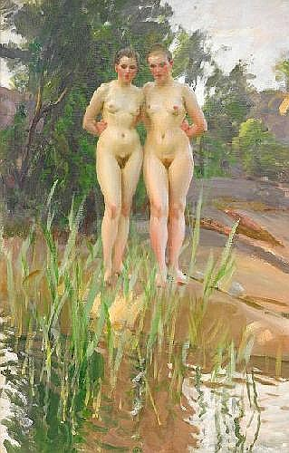 ANDERS ZORN 1860-1920 Två vänner Olja på duk, 100