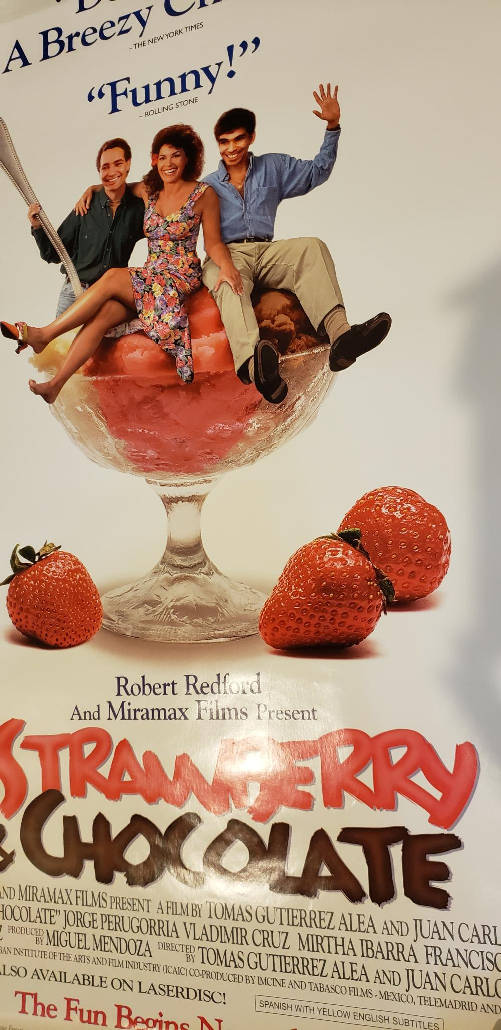 STRAWBERRY AND CHOCOLATE movie poster ROBERT REDFORD