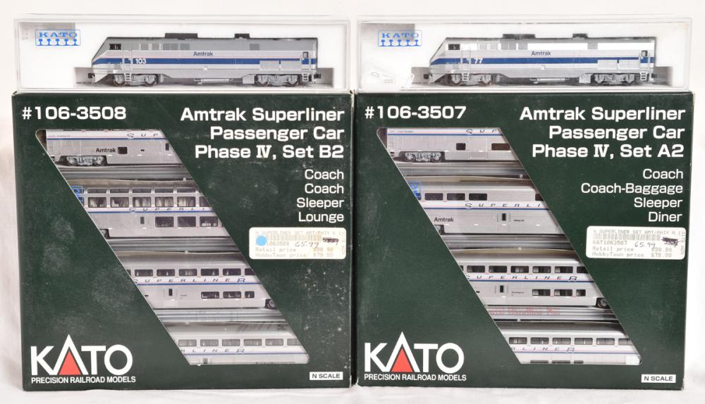 Kato N scale Amtrak passenger set including two P42 locomotives and 8 Superliners in phase IV paint