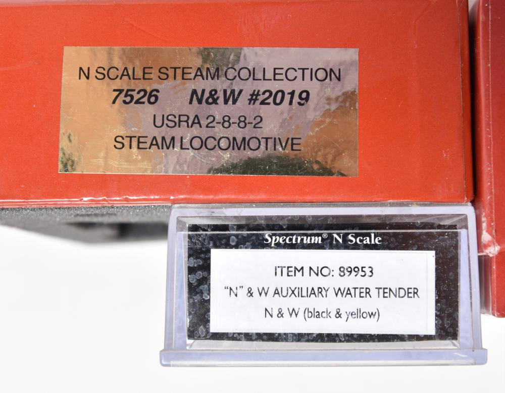 Life Like Heritage N scale group of three Norfolk and Western 2-8-8-2 steam locomotives and Spectrum Auxiliary tender