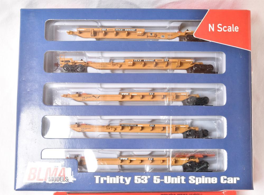 Lot of twenty (Five 5 car sets) BLMA Models Trinity 53' spine car sets