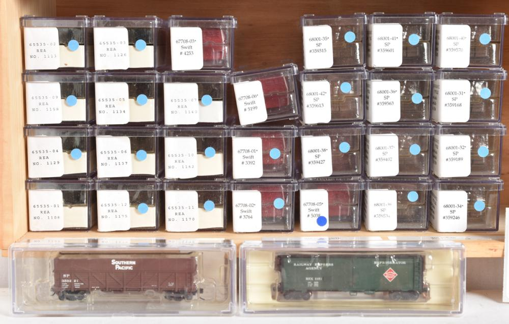 Intermountain group of twenty nine 40' steel reefers and sugar beet gondolas - Swift, Railway Express Agency, Southern Pacific