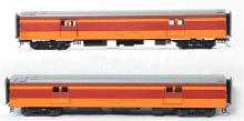 Pair of MTH O scale Milwaukee Road Railway Express Agency baggage cars