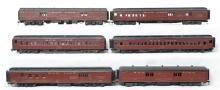 Group of six O scale two rail Soo Line heavyweight passenger cars