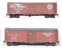 Pair of custom O scale Nickel Plate and Seaboard 40' foot boxcars