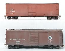 Pair of custom O scale boxcars Pennsylvania X-37 and CEI 40' foot steel