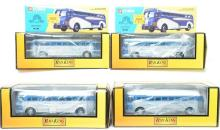 6 Railking and Corgi die cast busses Greyhound and Union Pacific