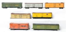 Group of seven O scale two rail refrigerator cars CB&Q, Northwestern, Wilson and Co. Etc.