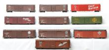 Group of ten Pecos River Brass O scale two rail double door 50' foot boxcars