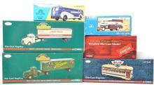 6 Corgi die cast vehicles Union Pacific Yellow Bus, Mack LJ, Schlitz, Budweiser, etc