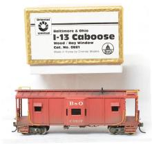 Oriental Limited HO brass Baltimore and Ohio I-13 caboose - painted and weathered.