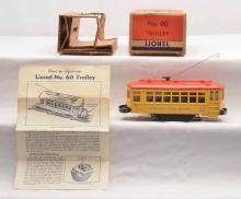 Lionel Postwar no. 60 Lionelville Rapid Transit Trolley w/two-Piece Bumper Boxed