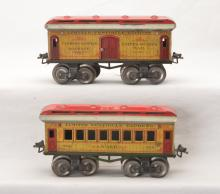 Ives Prewar O Gauge Yellow Lithographed Passenger Cars 60 61
