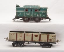 Ives Prewar O Ga. 3252 Rubber-Stamped Electric Loco 128 Litho Gravel Car