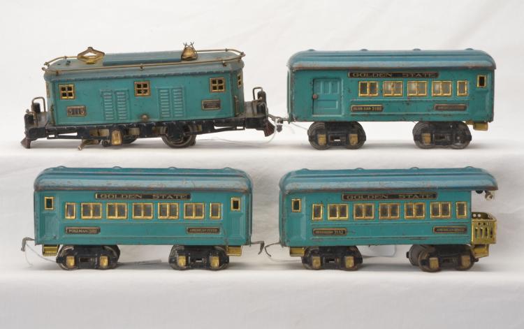 Am Flyer Prewar O Ga. Blue/Green Golden State Set 3115 3180 3181 3182