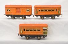 American Flyer Prewar O Gauge Orange Four-Wheel Pass Cars 3140 3141 3142