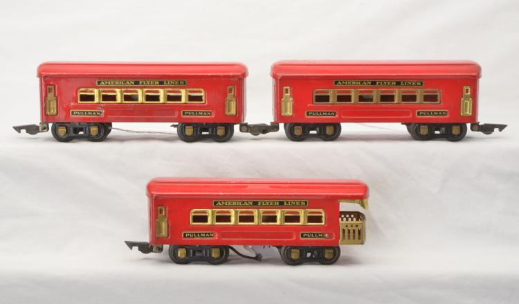 American Flyer Prewar O Ga. Red Eight-Wheel Pass Cars 404 404 405