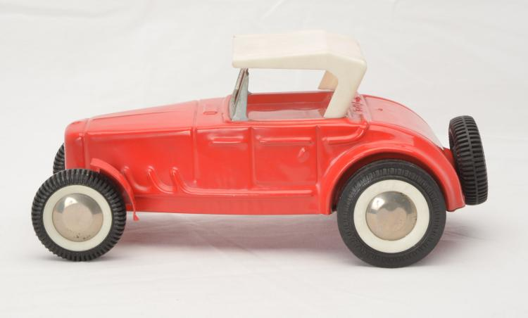 Buddy L Red Roadster with White Plastic Roof