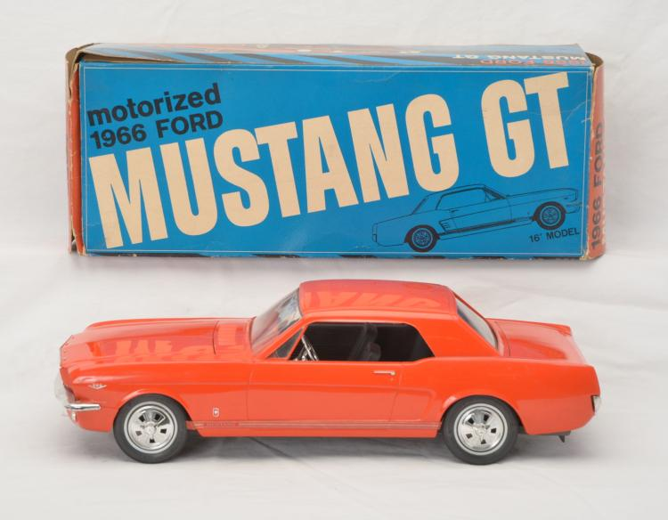 AMF 1966 Orange Ford Mustang GT w/Plastic Body Steel Chassis Boxed