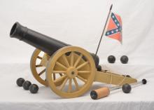 Remco Johnny Reb Cannon w/Confederate Flag, 6 Cannon Balls Plunger
