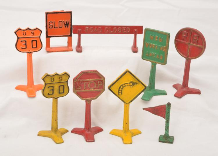 Arcade Cast Iron Set of Eight Road Signs Circa 1930s