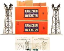 Lionel Postwar 395 Steel and 395 Aluminum Floodlight Towers Boxed