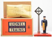 Lionel Postwar 1045 Operating Watchman w/Nickel Crossing Sign MINT Boxed