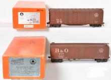 Pair of O scale Precision Scale Co. B&O boxcars M-15ba and M-26 painted and weathered