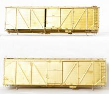 Pair of Precision Scale Co. 40 FT AAR outside braced boxcars 15593 15531