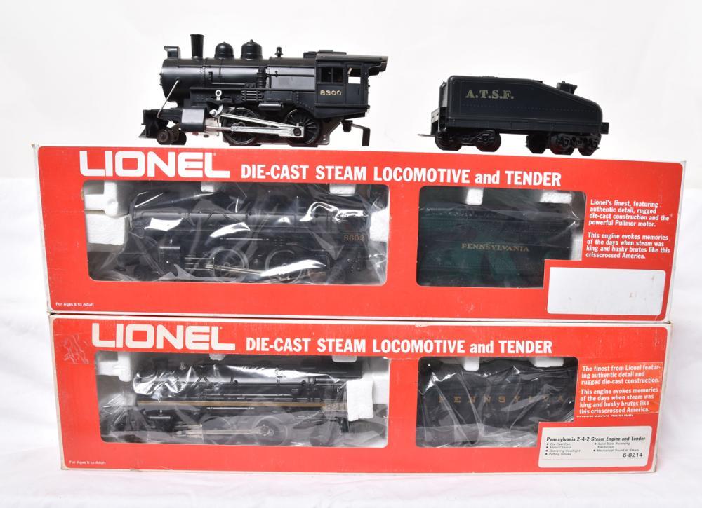 Three Lionel Steam Locomotive and Tenders ATSF 8300, PRR 8214, & PRR