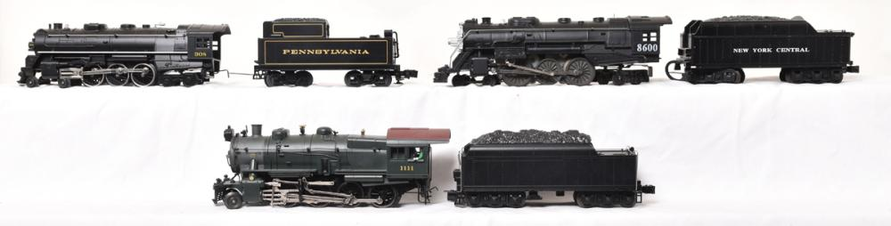 Three Lionel Steam Engines & Tenders  NYC Hudson #8600, PRR # 1111