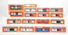 17 Lionel modern O gauge Christmas Freight Cars. 19945 19976 19938 19903
